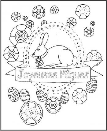 coloriage lapin paques