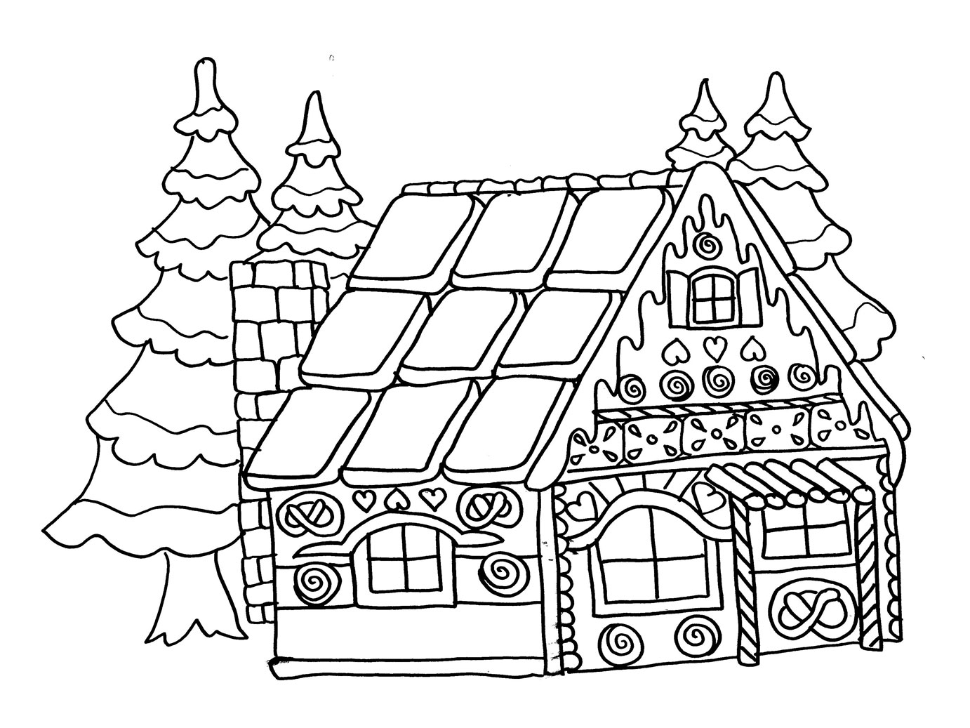 Coloriage de la maison en pain d 39 pices trucs et deco for Decoration noel dessin